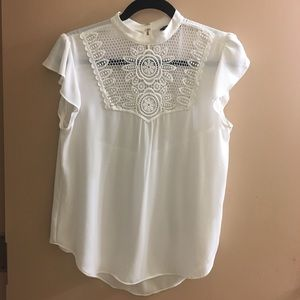 Express White Mock Neck Crochet Detailed Front Top